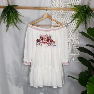 Free People Sunbeam Flowy Floral Embroidery Dress